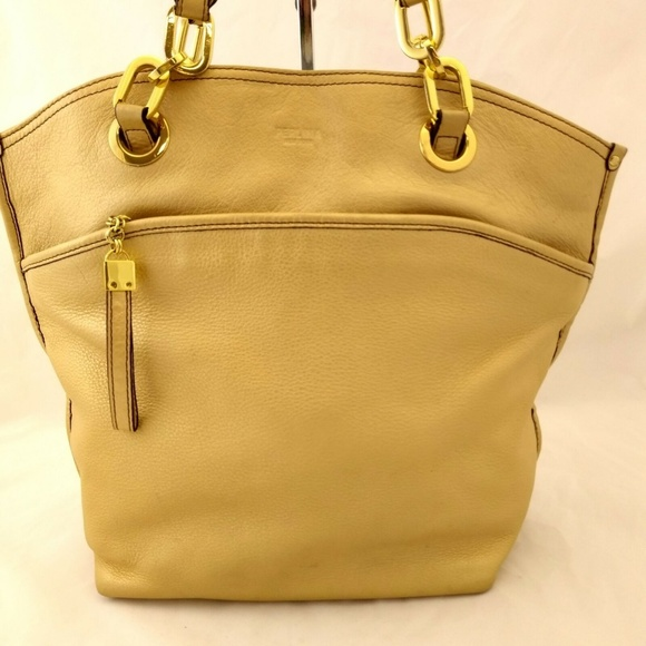 Perlina Handbags - Perlina Shoulder Handbag Large Leather Muted Gold